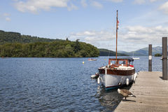 Pleasure Boat moored at Boweness on Windermere, Lake Windermere. Stock Photography