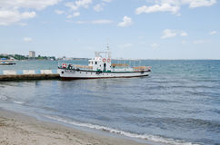 Pleasure boat on a mooring in Feodosia Stock Image