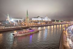Pleasure boat on the Moscow - the river in the evening. Russia Royalty Free Stock Photography