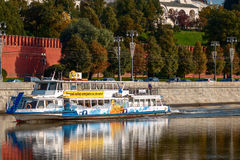 Pleasure boat on the Moscow River Royalty Free Stock Image