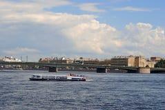 Pleasure boat on the Neva. Royalty Free Stock Photos