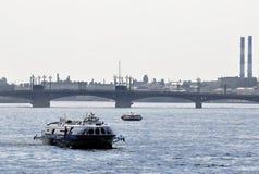 Pleasure boat on the Neva River in St. Petersburg Stock Photo