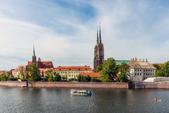 Pleasure boat on the Oder rive Stock Photo