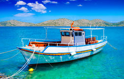 Pleasure boat off the coast of Crete, Greece Stock Images