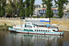 Pleasure boat Pirogov. Ukraine, Vinnitsa, the Southern Bug river. On pictures pleasure boat Pirogov near the pier Royalty Free Stock Photo