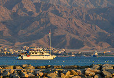 Pleasure boat at the Red Sea, Eilat. Israel Stock Photo
