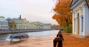 Pleasure boat on the river Fontanka Royalty Free Stock Image