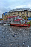 Pleasure boat on the river Neva Royalty Free Stock Images