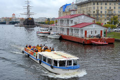 Pleasure boat on the river Neva Stock Photo