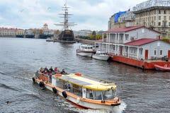 Pleasure boat on the river Neva Royalty Free Stock Photos