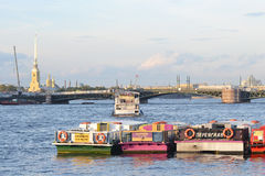 Pleasure boat on the river Neva Stock Images