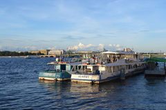 Pleasure boat on the river Neva Stock Photo
