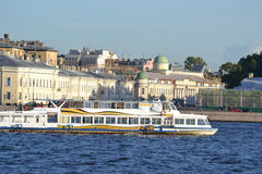 Pleasure boat on the river Neva. Royalty Free Stock Images