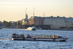 Pleasure boat on the river Neva Royalty Free Stock Photo