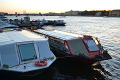 Pleasure boat on the river Neva Royalty Free Stock Photos