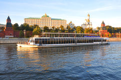 Pleasure boat River Palace 2 at the walls of the Kremlin. Moscow. Russia Royalty Free Stock Photo