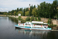 Pleasure boat on the river Southern Bug. In Vinnitsya, Ukraine Stock Photography