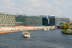 Pleasure boat on the river Spree. Royalty Free Stock Photo