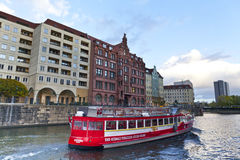 Pleasure boat on the river Spree in central Berlin. Stock Image