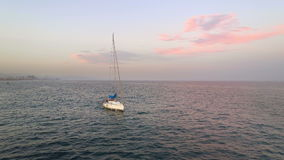 Pleasure Boat Sailing on Sea. Pleasure Boat Sailing on mediterranean Sea near Barcelona coastline, Spain stock video