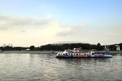 Pleasure boat sails along the Moscow River near Luzhniki Stadium Stock Image