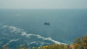 Pleasure boat at sea stock footage