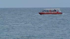 Pleasure boat in the sea. stock video