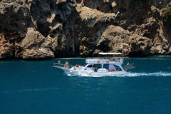 Pleasure boat in the sea near Antalya Stock Photos
