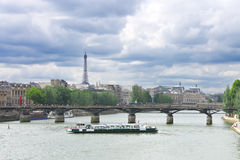 Pleasure boat on the Seine in Paris. Royalty Free Stock Photos