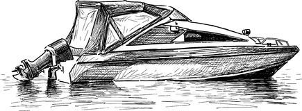 Pleasure boat. Vector drawing of a motorboat for a recreation and sport royalty free illustration