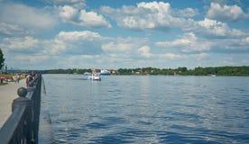 Pleasure boat on the Volga , Royalty Free Stock Photo