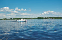 Pleasure boat on the Volga ,. City of Yaroslavl.Golden ring of Russia Stock Photography