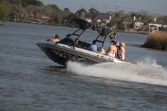 Pleasure Boating. Family pleasure Boating on Clear Lake Bay Nassau Bay Texas Royalty Free Stock Images