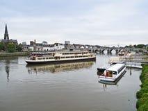 Pleasure boats. Pleasure boat's moorage in Maastricht, Netherlands Royalty Free Stock Photos