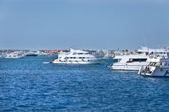 Pleasure boats at anchor Royalty Free Stock Photography