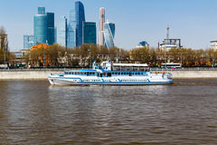 Pleasure boats on the background of International Business Center Moscow City Royalty Free Stock Image
