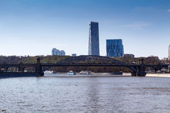Pleasure boats on the background of Krasnoluzhsky Bridge in Moscow Royalty Free Stock Image