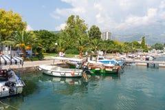 Pleasure boats in Budva promenade, Montenegro Royalty Free Stock Image
