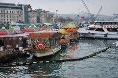 Pleasure boats, cafe on the water, Istanbul Royalty Free Stock Image