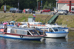 Pleasure boats on the canal. Stock Photo