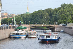 Pleasure boats on the canal. Royalty Free Stock Image