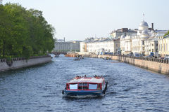 Pleasure boats on the canal. Royalty Free Stock Photography
