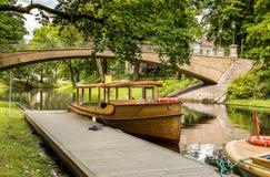 Pleasure boats in central park of Riga, Latvia Stock Photography