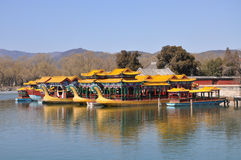 Pleasure boats with dragon heads in the Summer Palace Stock Photo