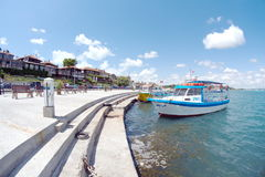Pleasure boats on the embankment of Nessebar in Bulgaria Royalty Free Stock Image