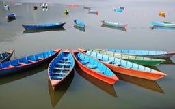 Pleasure boats at Fewa lake in Pokhara,Nepal Stock Photos