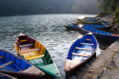 Pleasure boats at Fewa lake in Pokhara,Nepal Royalty Free Stock Photos