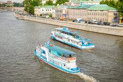 Pleasure boats floats on the Moscow-rive Royalty Free Stock Photography