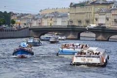 Pleasure boats on the Fontanka Royalty Free Stock Photography