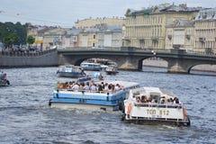 Pleasure boats on the Fontanka. Stock Photography